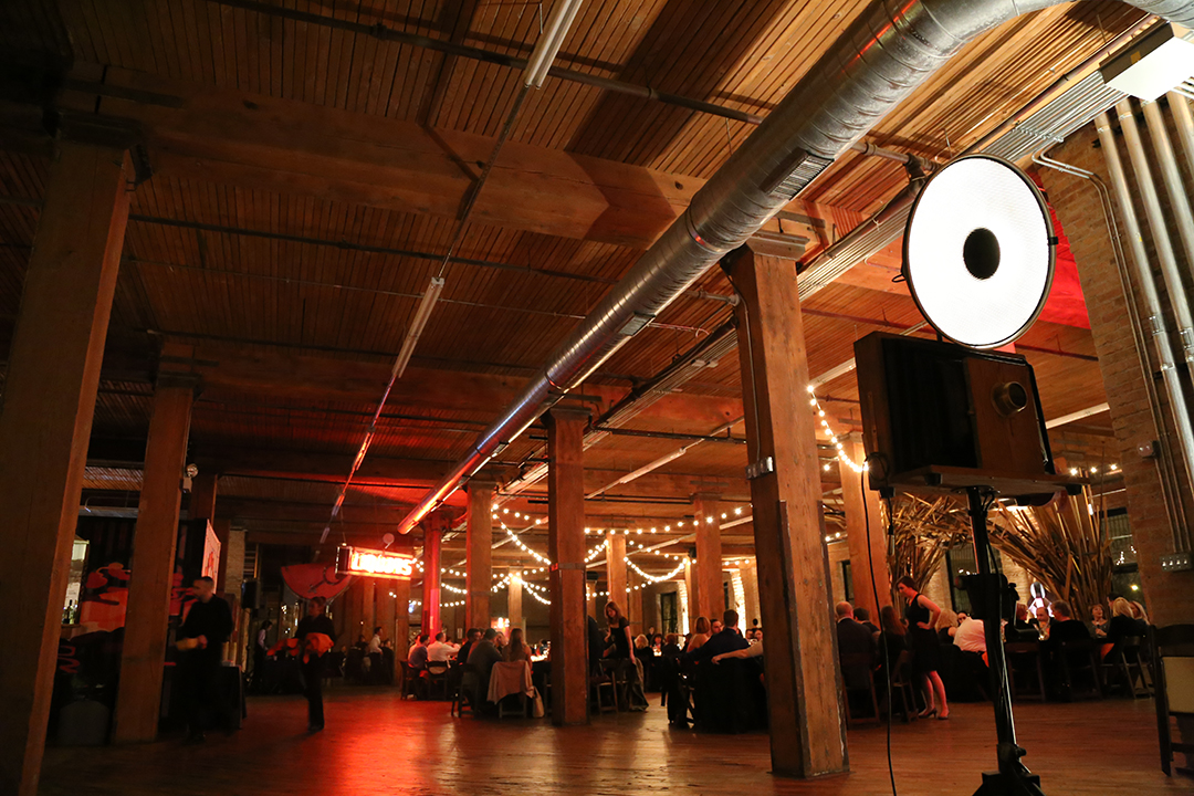 A Fotio Photo Booth setup in the Reverie Gallery event space at Lacuna Artist Loft Studios.