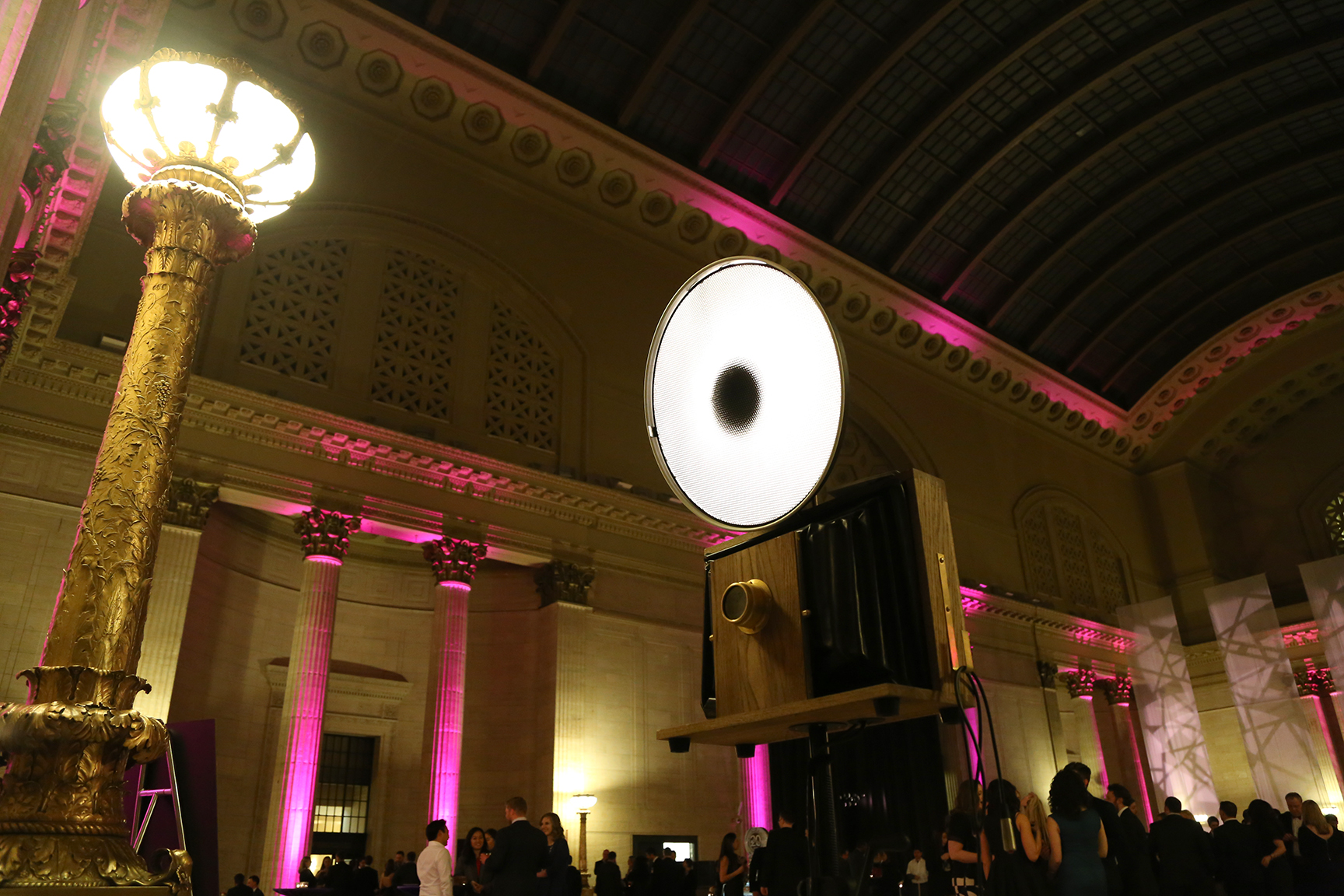 A Fotio Photo Booth setup in the Great Hall for a Union Station Chicago corporate event rental.
