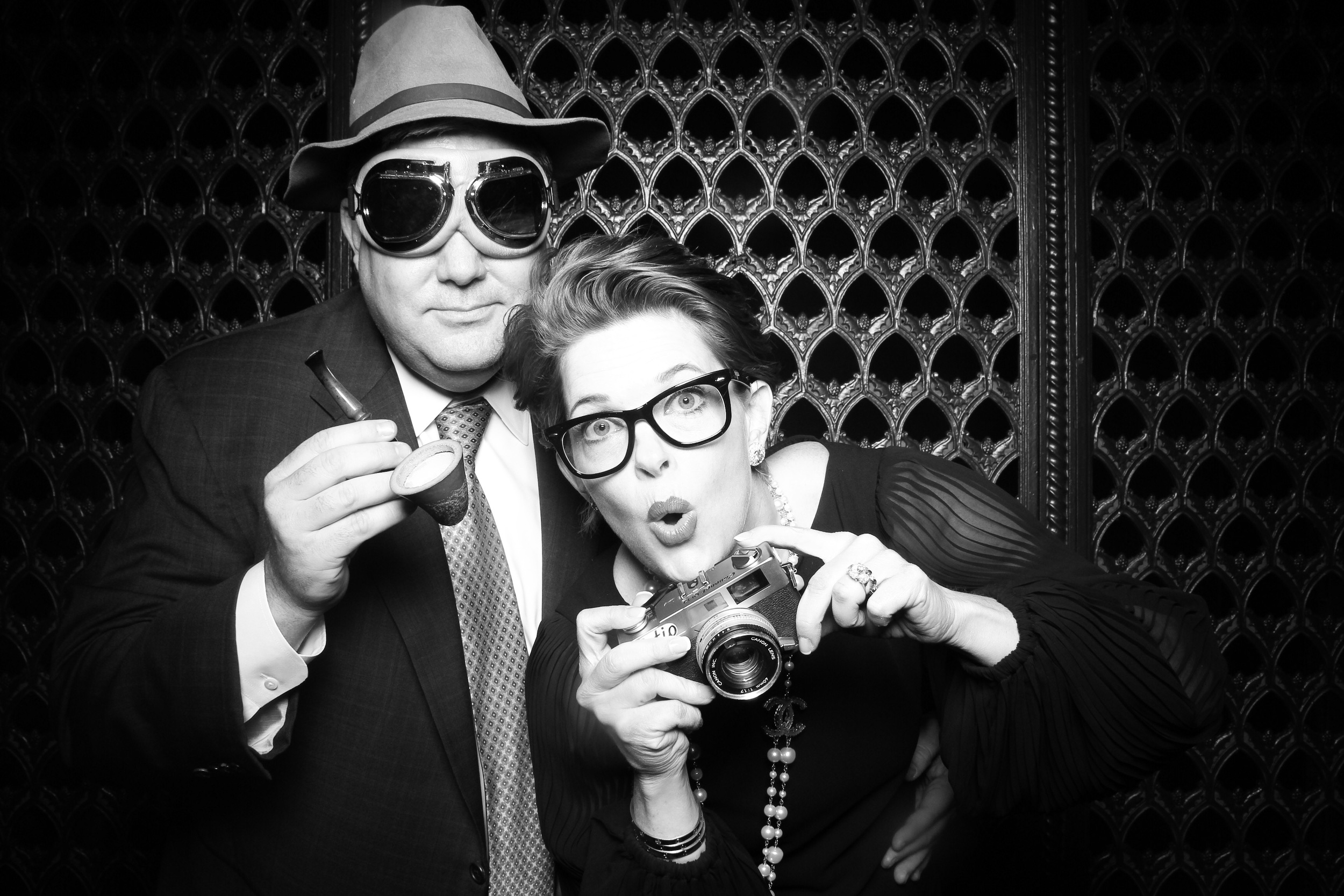 Guests having some photo booth fun with vintage props at Chicago's Union Station!