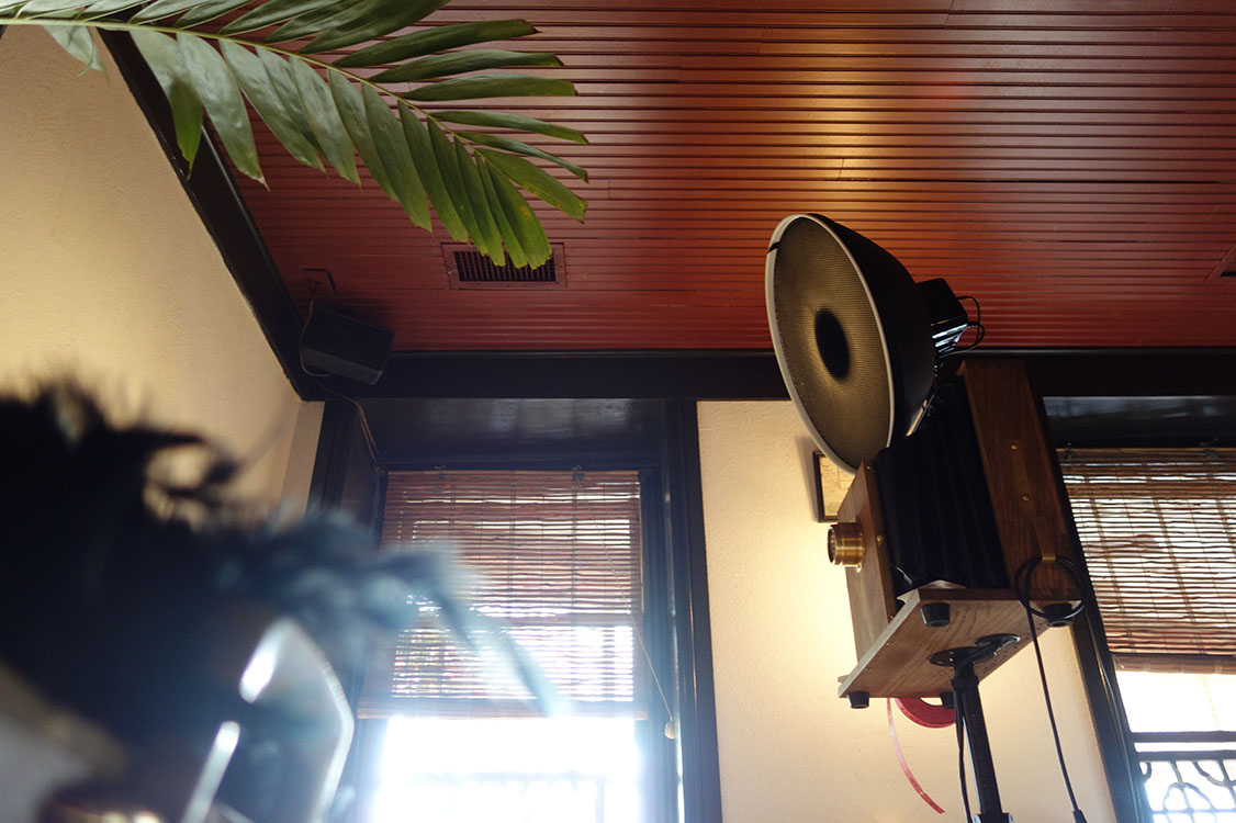Fotio photo booth setup at Le Colonial restaurant.