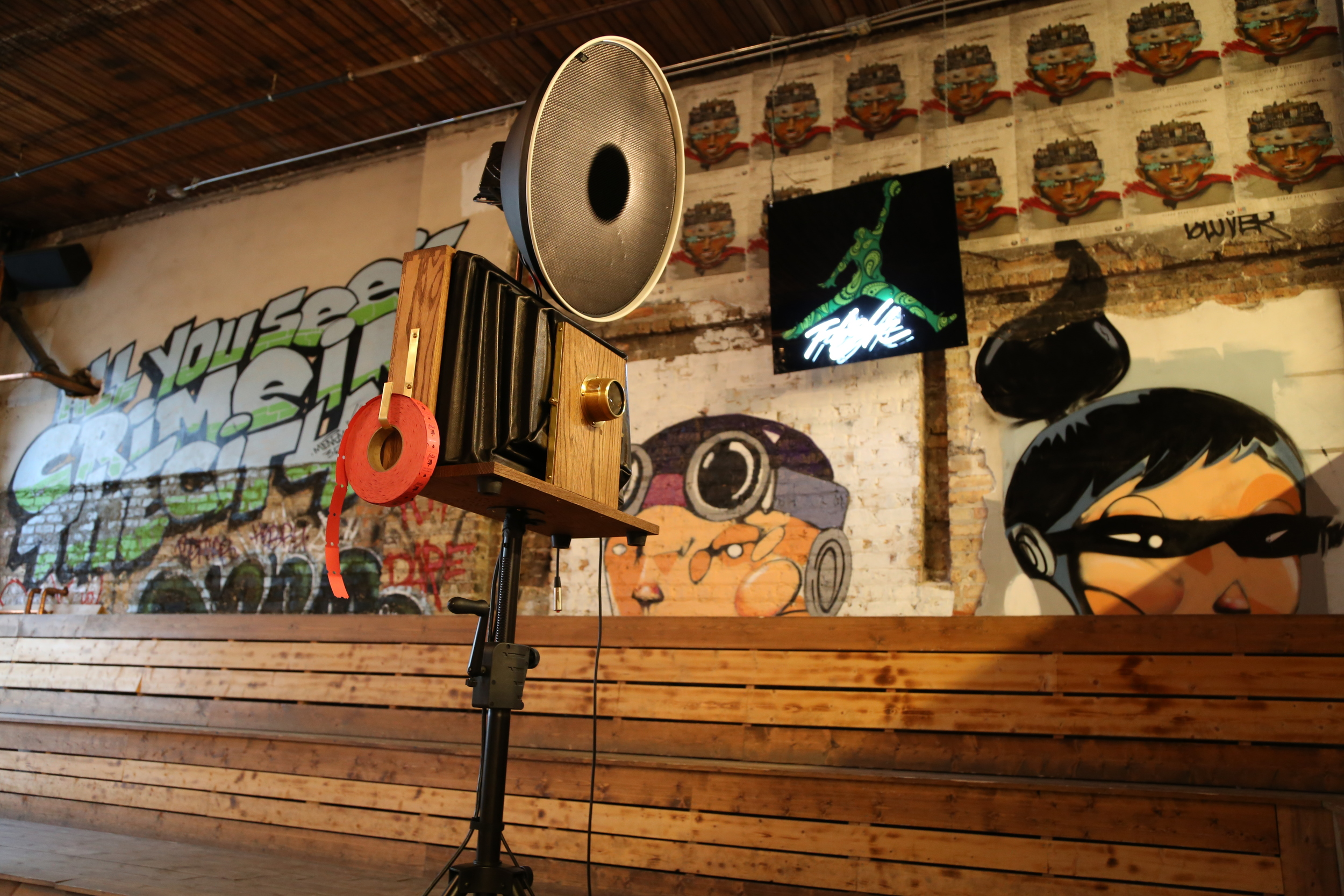Photo Booth setup taken in the Reverie Gallery at Lacuna Artist Lofts.