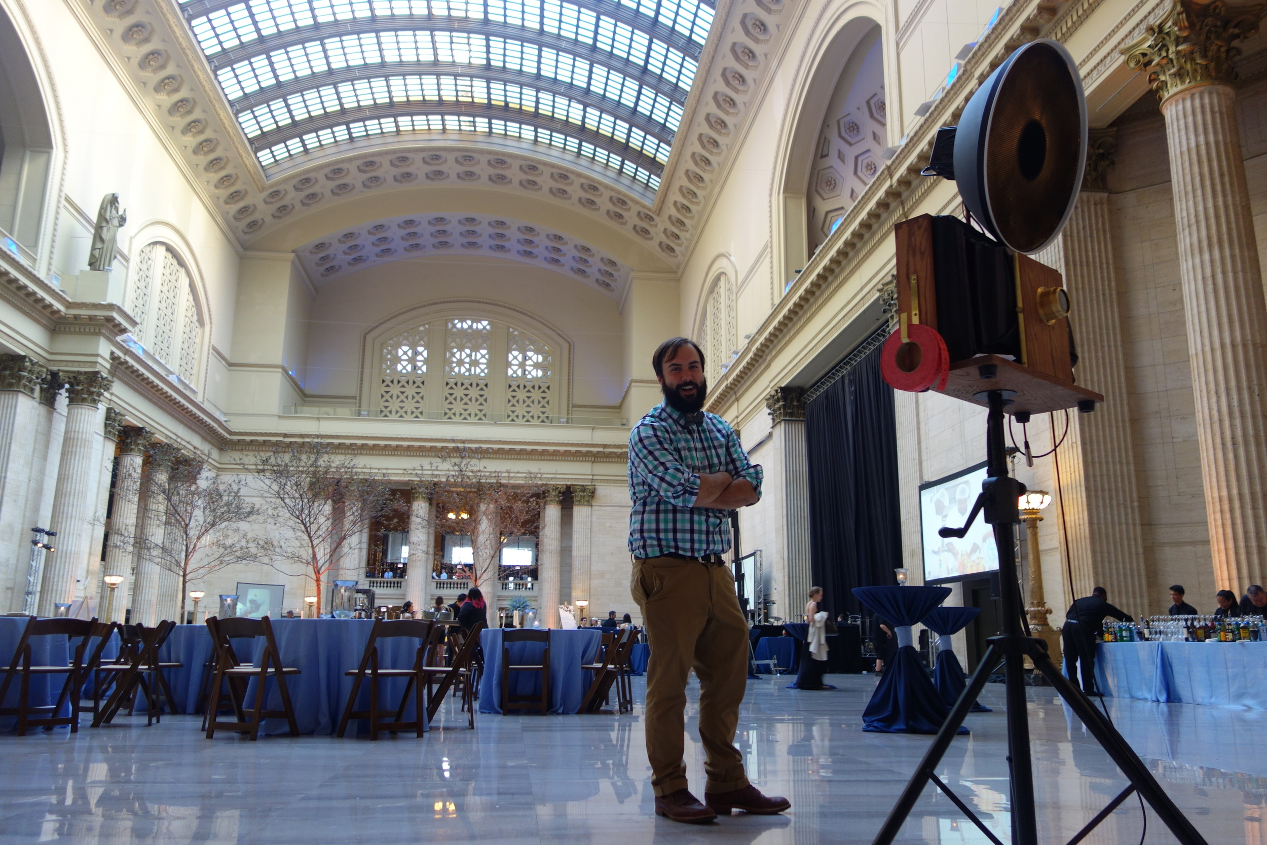 Fotio co-owner Nick Harvey poses for a picture in Union Station's Great Hall. Photos by  Rachel Smith.