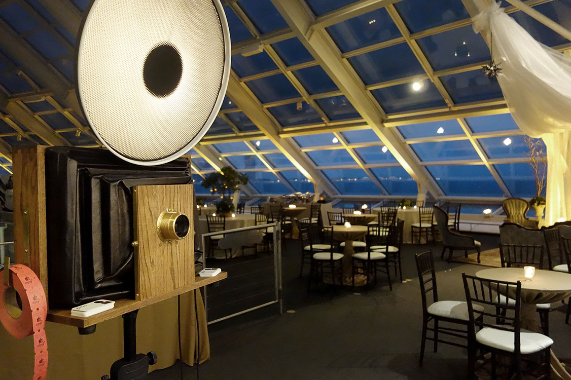 A Fotio Photo Booth setup in Cafe Galileo's at Adler Planetarium.
