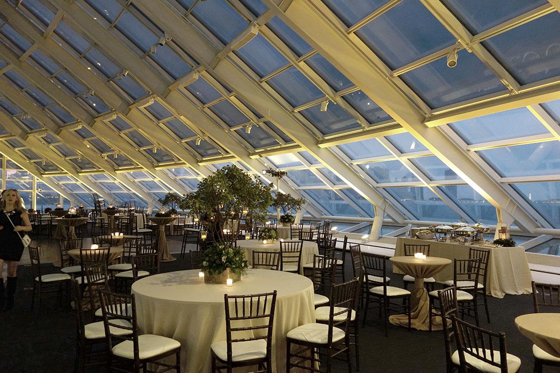 The beautiful windows and event decor for an Adler Planetarium wedding.