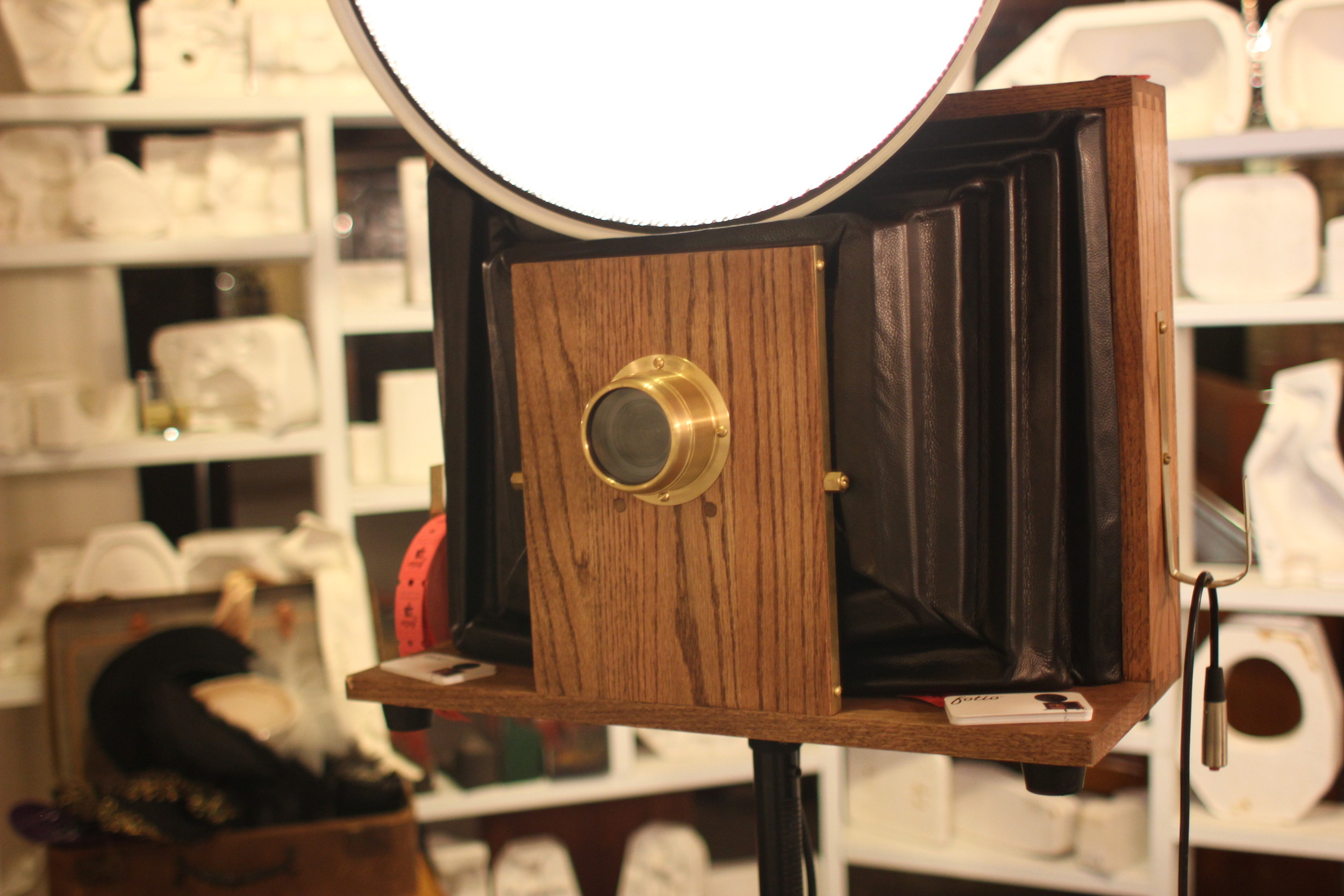 Close up of a vintage style Fotio booth at Salvage One Chicago Wedding!