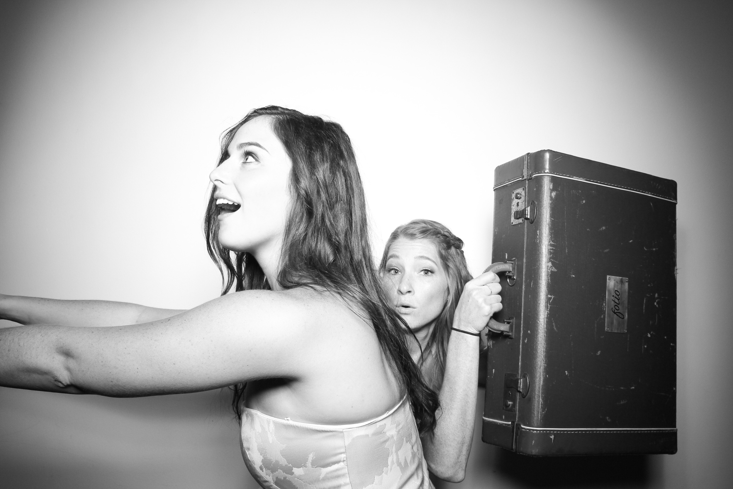 Love the suitcase luggage photo booth prop seen at Venue One Chicago in the West Loop!