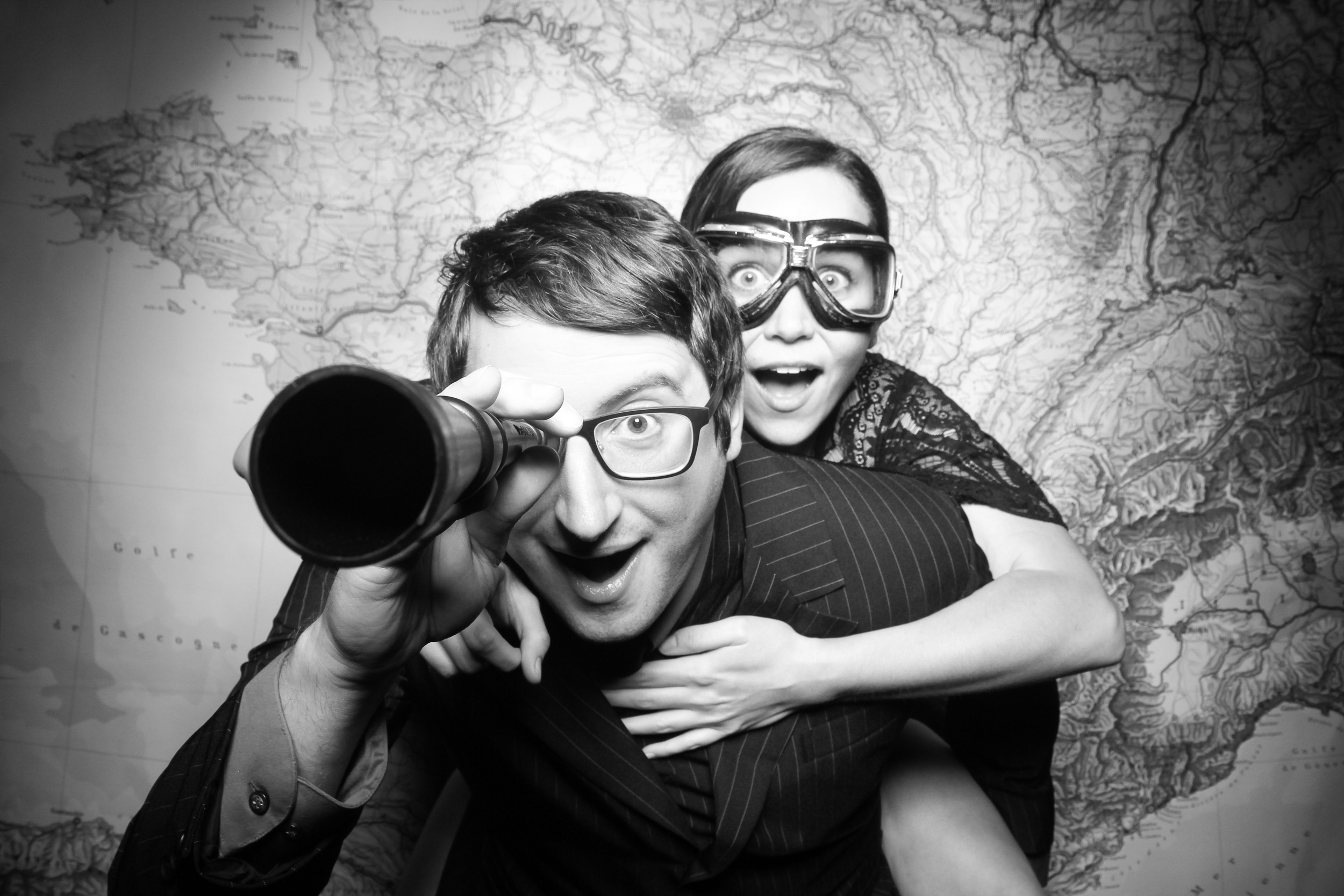 A travel themed wedding photo booth at a Chicago Museum! Love the telescope and goggle props!