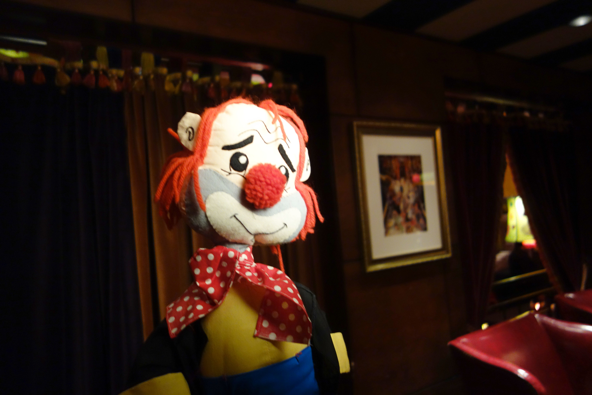 One of our circus themed photo booth props - the sad puppet clown!
