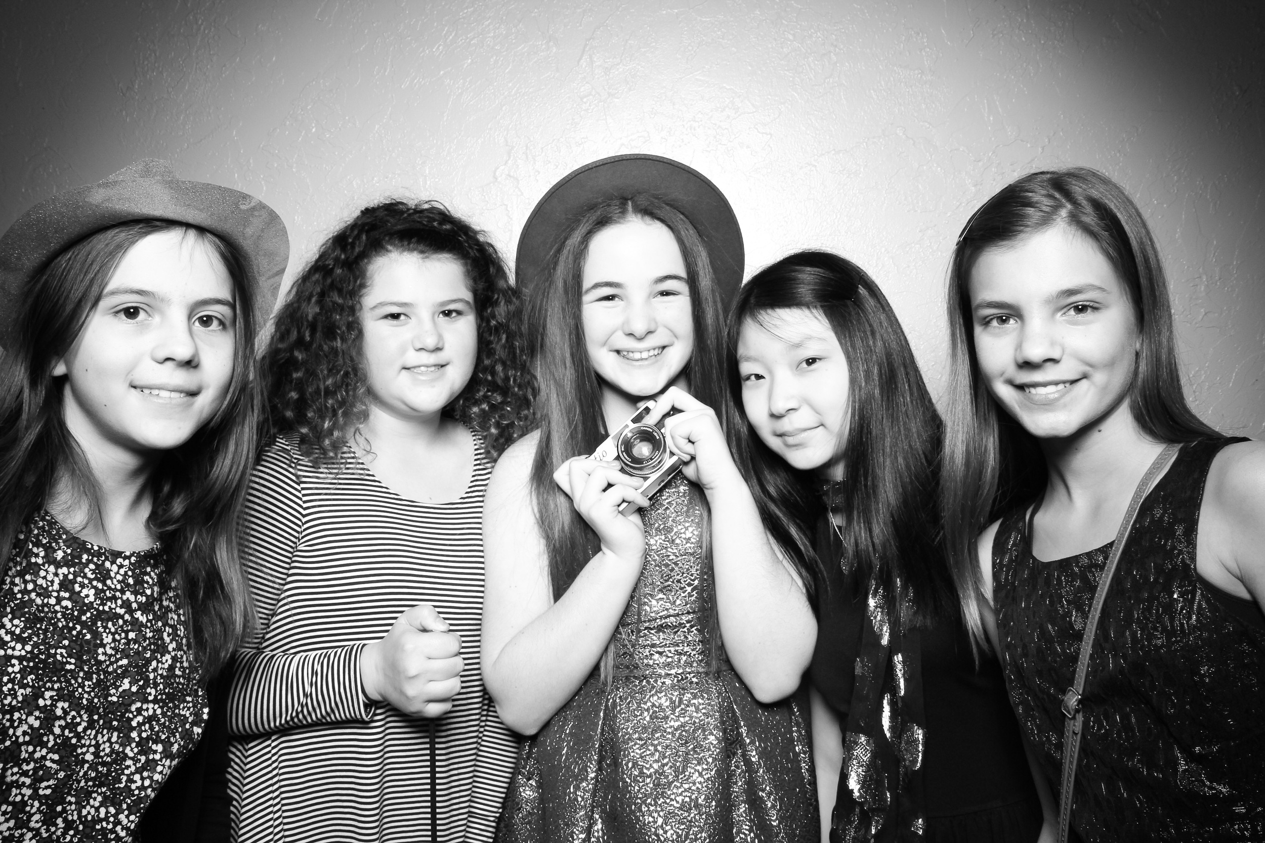 The girls post for a Bat Mitzvah photo booth pic at River Roast Chicago!