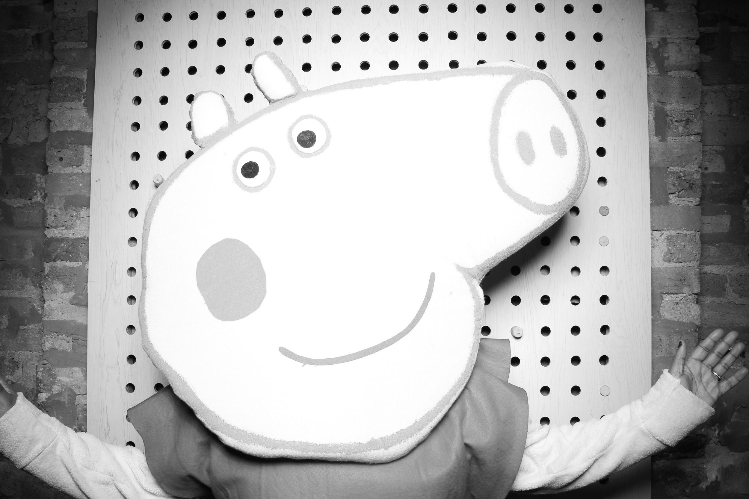 Peppa Pig posing for a Fotio photo booth pic at Sod Room Chicago!
