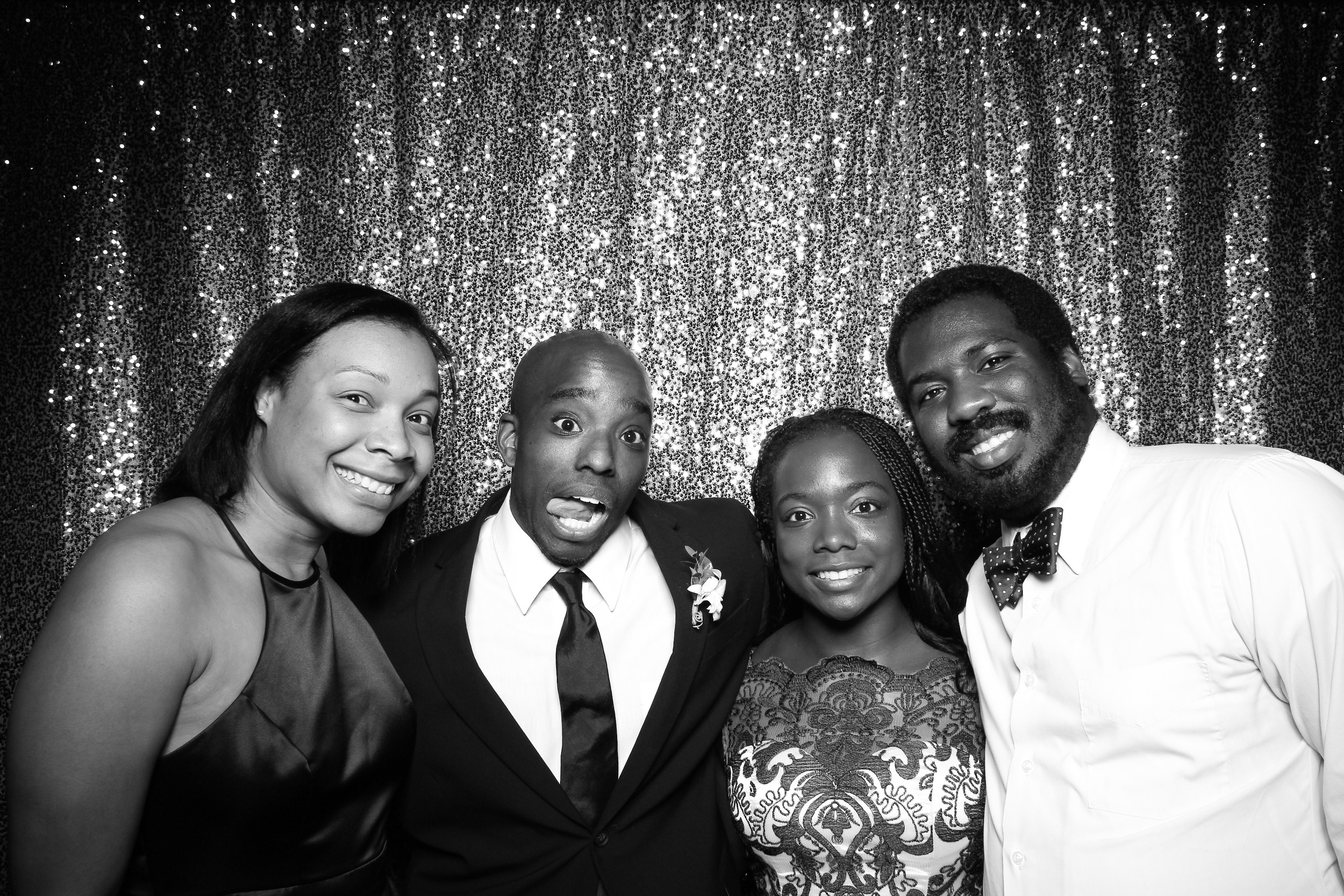 Wedding guest posing with their friends!