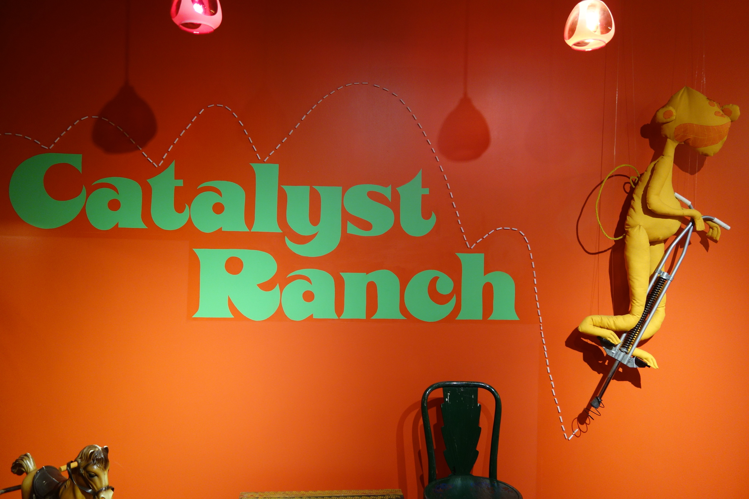 Catalyst Ranch sign in the entry way as you arrive.