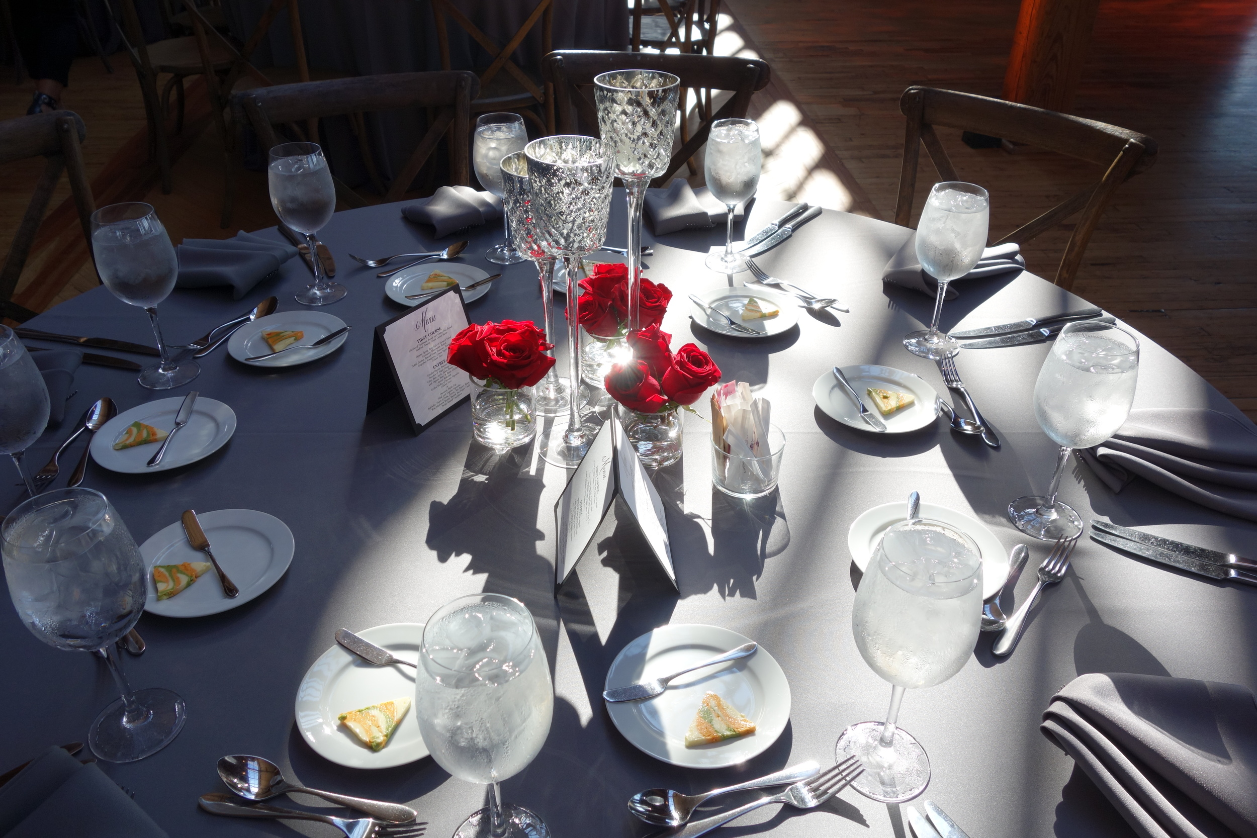 The skylight shining through on the gorgeous table setting!