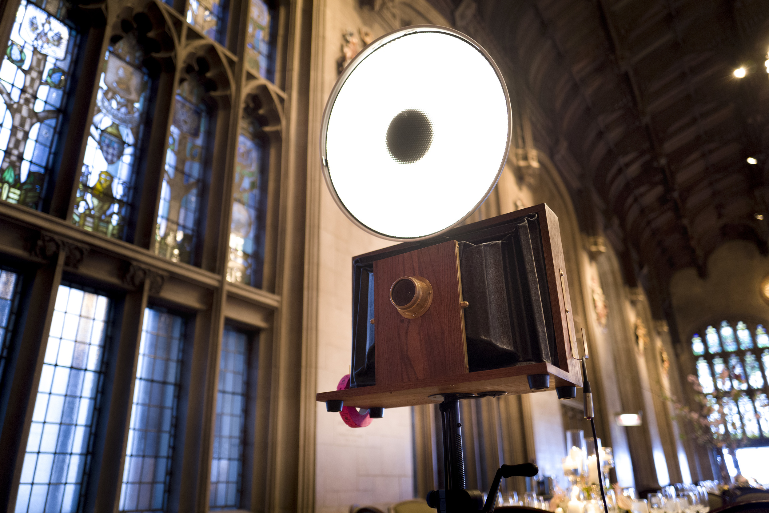 A Fotio photo booth setup in Cathedral Hall at the University of Chicago wedding.