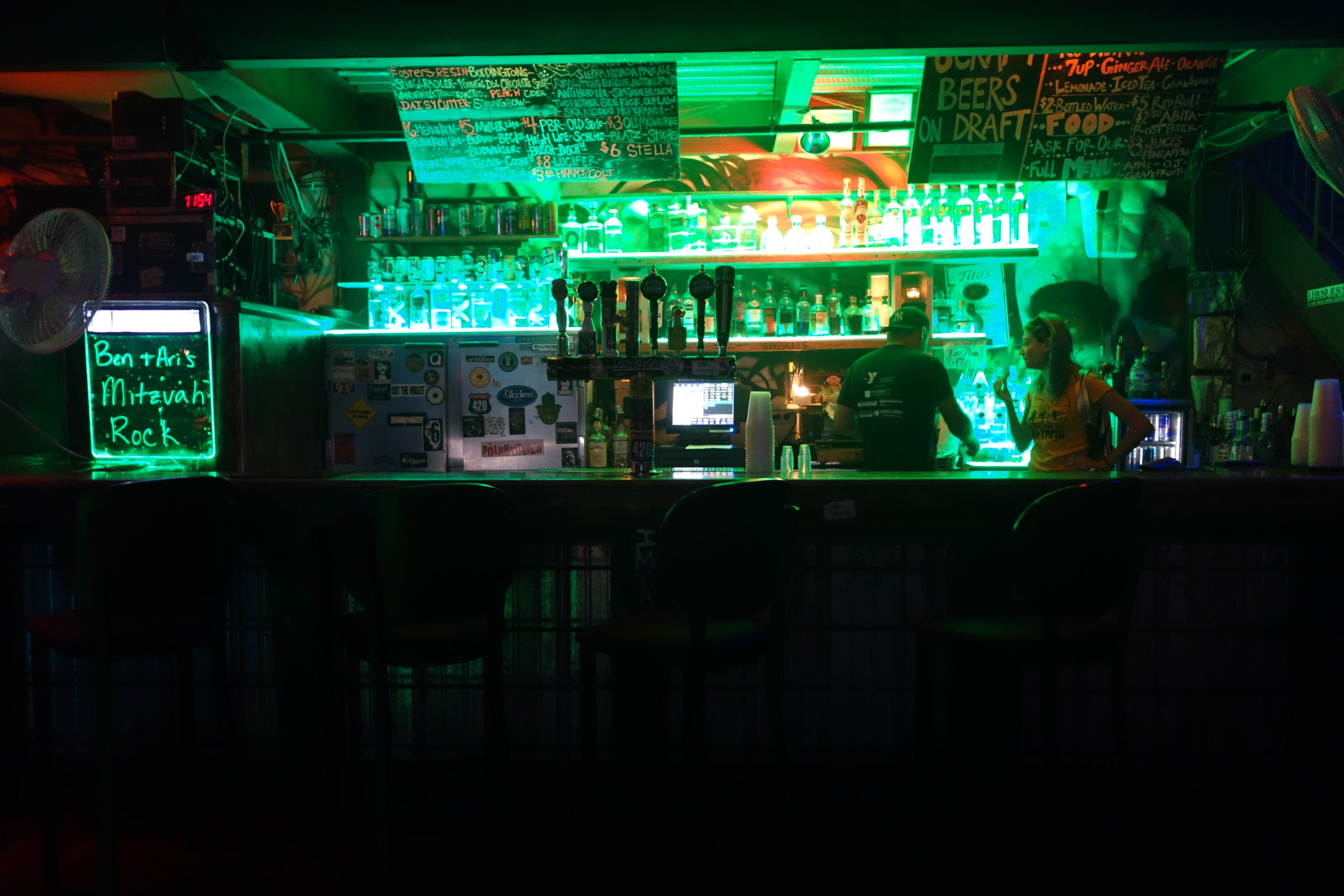 Bar by the stage!
