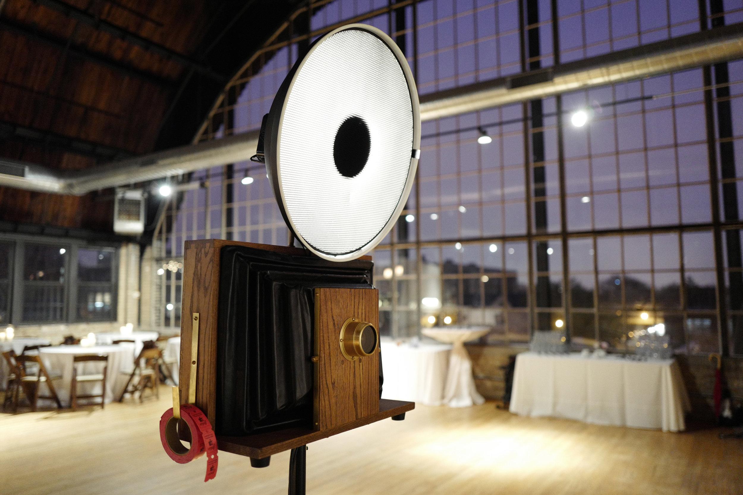 Fotio all setup for the wedding reception at Ravenswood Event Center Atrium Loft.
