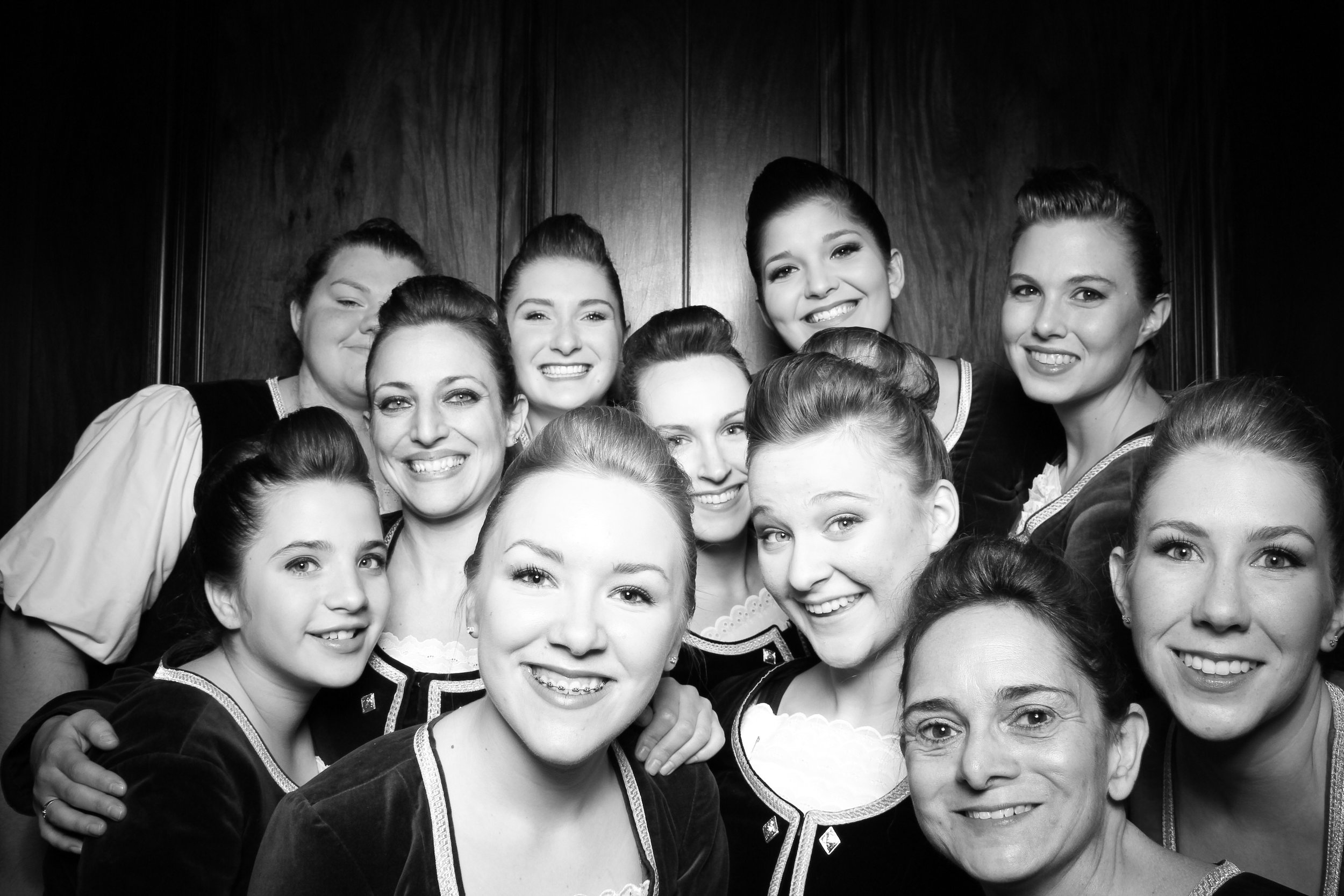 The Scottish Dancers pose for a photo booth picture in Gar Memorial Hall.
