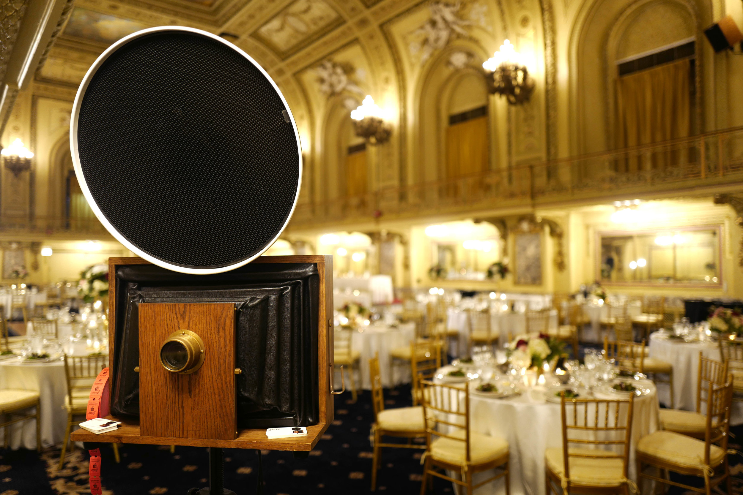 A Fotio Photo Booth setup in the Congress Hotel Gold Room.
