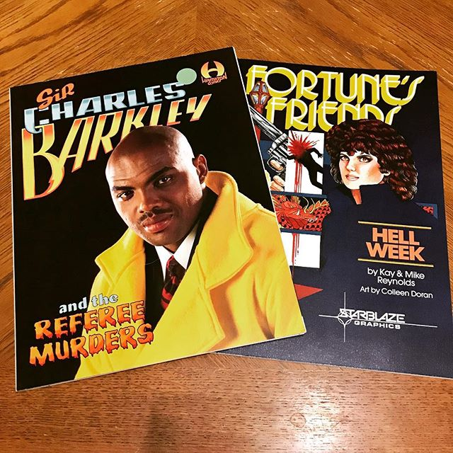 Two of my favorite pickups from #sccomicon2019, Fortune's Friends with art by Colleen Doran and Sir Charles Barkley and the Referee Murders. . . . #sircharlesbarkley #alandeanfoster #sccomicon #funnybooks #starblazegraphics