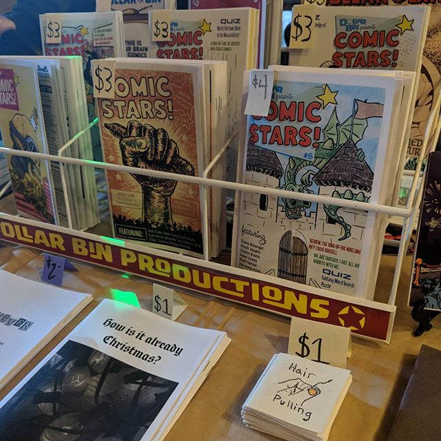We are set up at FLUKE in Athens, GA today! Come say hi and check out our new issue of Comic Stars! #minicomics #zines #zinefest #fluke #flukeathens