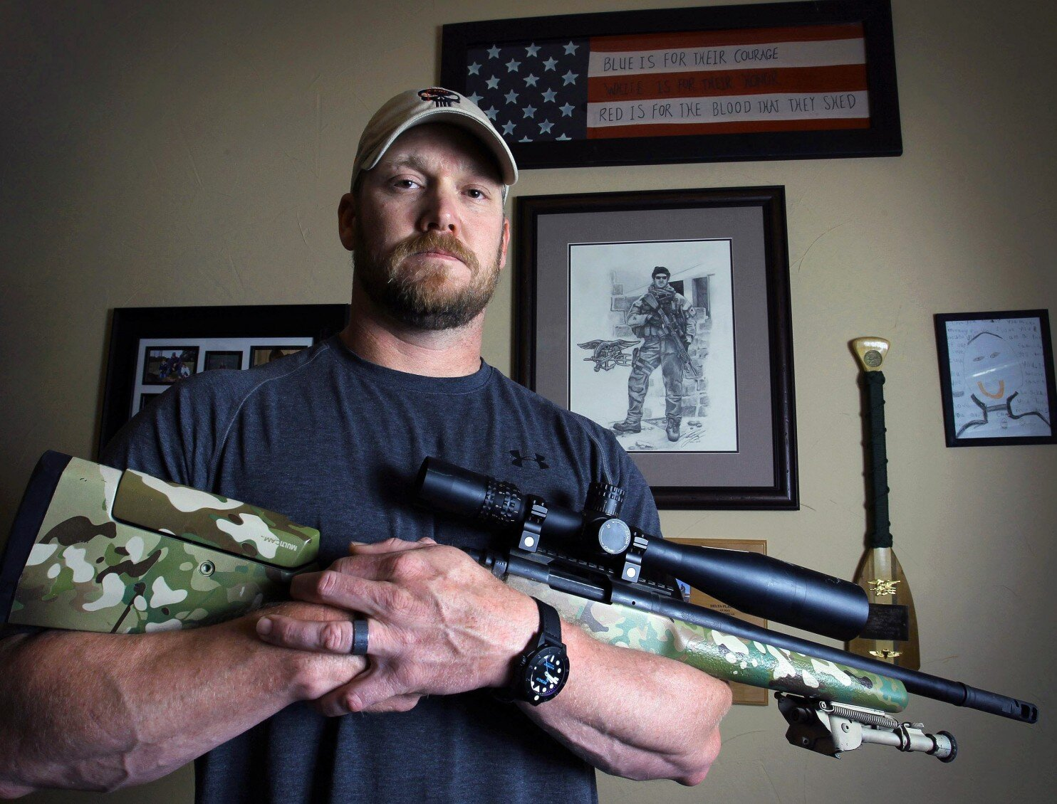 """Christopher Scott """"Chris"""" Kyle (April 8, 1974 − February 2, 2013) was a United States Navy SEAL and the most lethal sniper in U.S. military history. Kyle served four tours in the Iraq War and was awarded several commendations for acts of heroism and meritorious service in combat. He received two Silver Star Medals, five Bronze Star Medals, one Navy and Marine Corps Commendation Medal, two Navy and Marine Corps Achievement Medals and numerous other unit and personal awards. Kyle was honorably discharged from the U.S. Navy in 2009 and published his bestselling autobiography, American Sniper, in 2012. An eponymous film adaptation of Kyle's book, directed by Clint Eastwood, was released two years later. Chris was a devoted son, brother, husband and father in North Texas, as well as continuing his efforts to helping Veterans re-acclimate to civilian life and combat stress carried home. Kyle was shot dead at a shooting range near Chalk Mountain, Texas. His friend, Chad Littlefield, age 35, was also killed."""