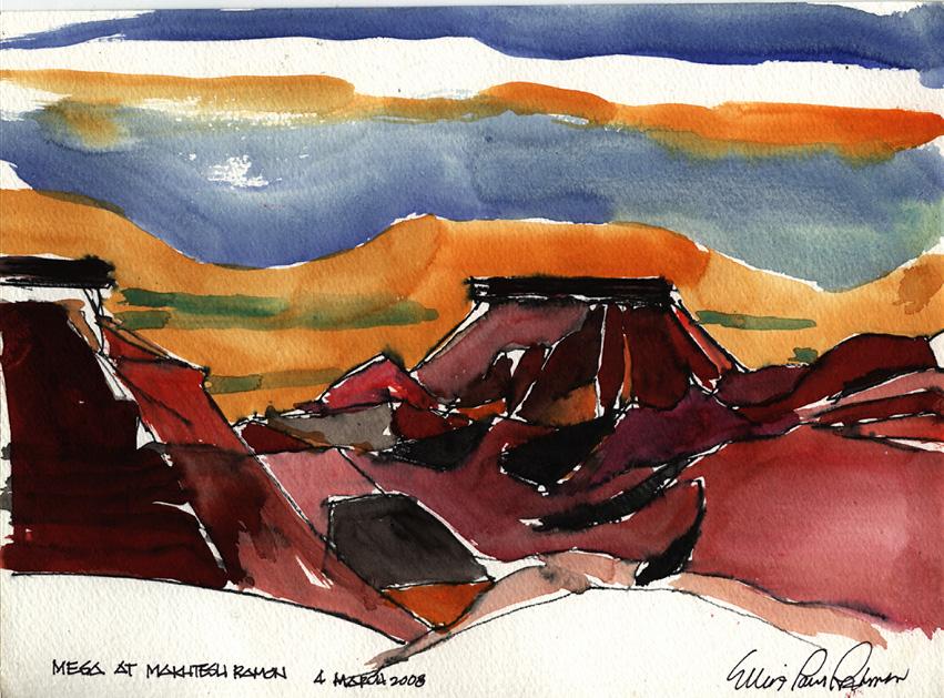 Mesa at Ramon Crater, Sunset