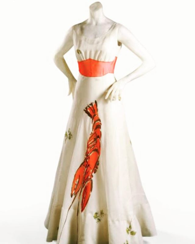 "The Lobster Dress 🦞  a collaboration between @schiaparelli and Salvador Dalí. An iconic image, ready for Montauk.  Elsa Schiaparelli led a refined life with a certain amount of luxury provided by her parents' wealth and high school status. She believed, however, that this luxury was stifling to her art and creativity and so she removed herself from ""the lap of luxury"" as quickly as possible.  She moved first to New York City and then to Paris, combining her love of art and design to become a couturier.  2019 not much has changed! . .  Design @daquinomonaco  Custom @candicekayedesign"