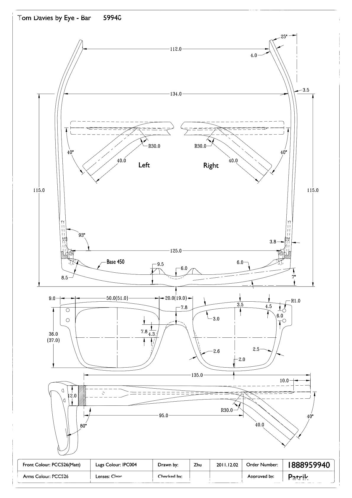bespoke eyewear orders include personalized detailed blueprints