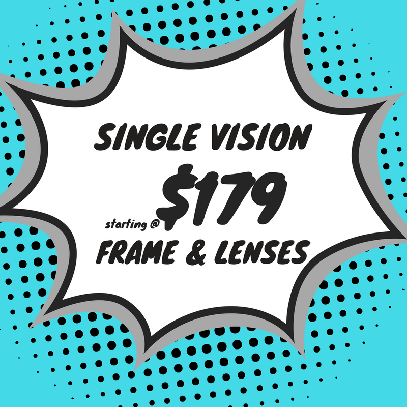 Single vision safety eyeglasses (frame & lenses) starting at $179