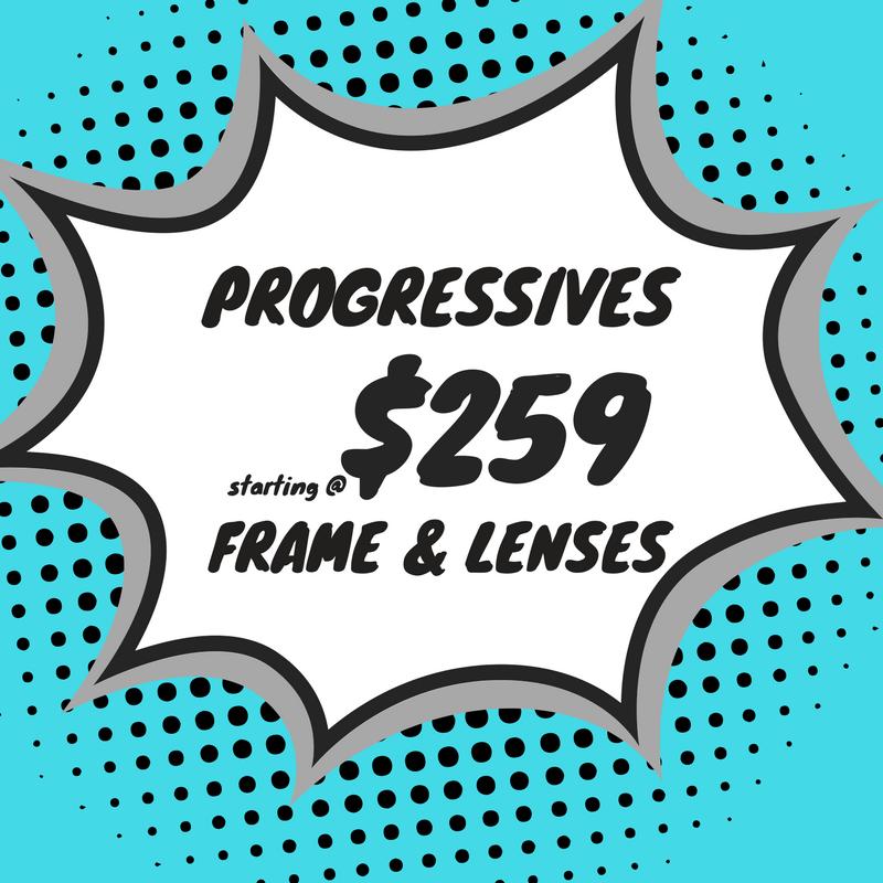 progressive safety eyeglasses (Frame & lenses) starting at $259