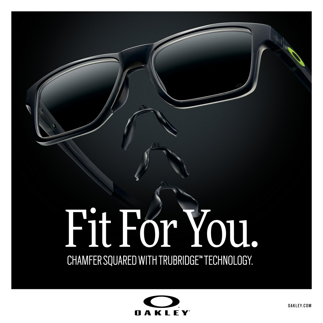 Okaley Image: Fit For YOu. Chamfer Squared with Trubrdidge Technology.