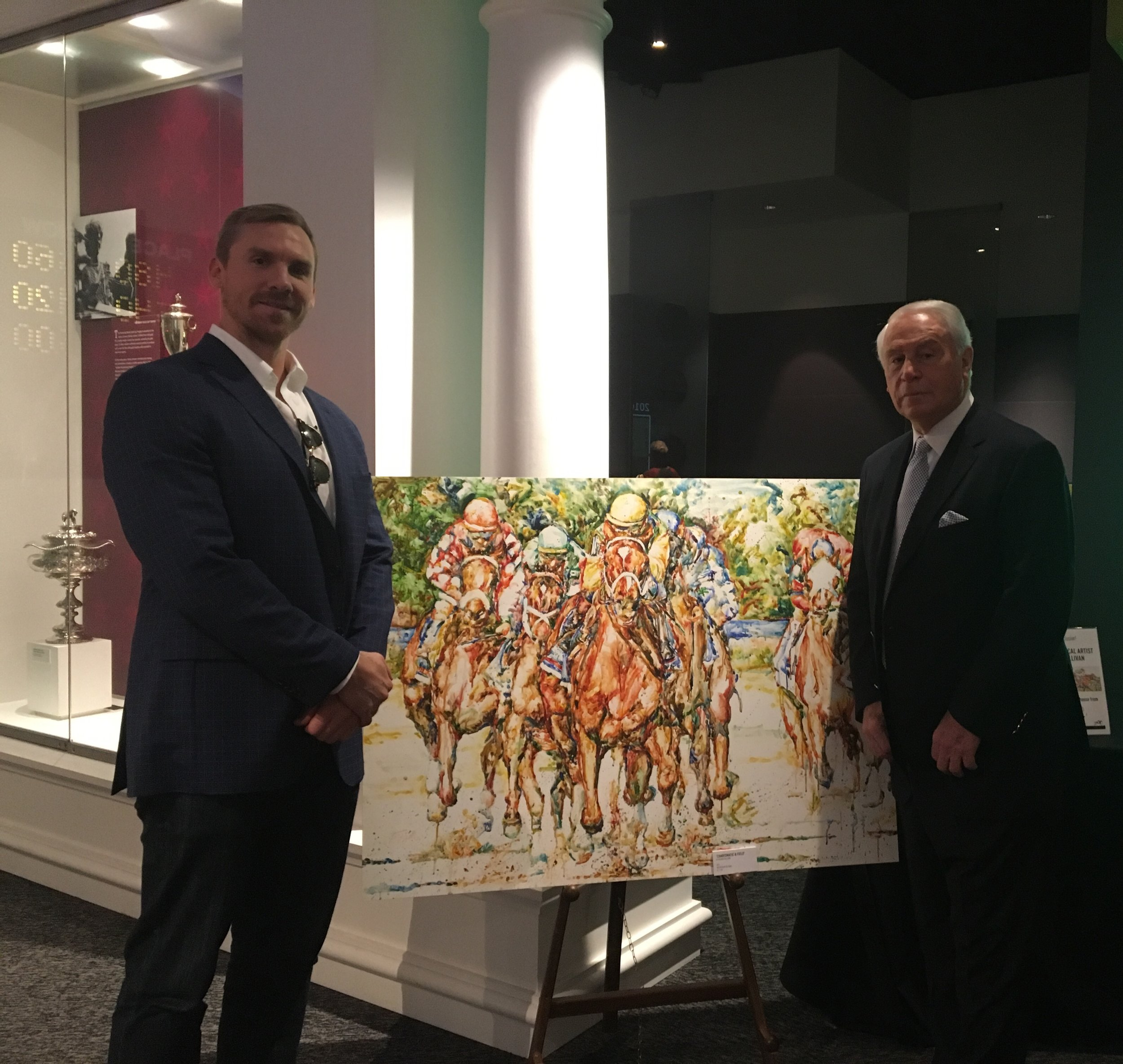 Legendary equestrian trainer, D Wayne Lukas and Richard at the Kentucky Derby Museum