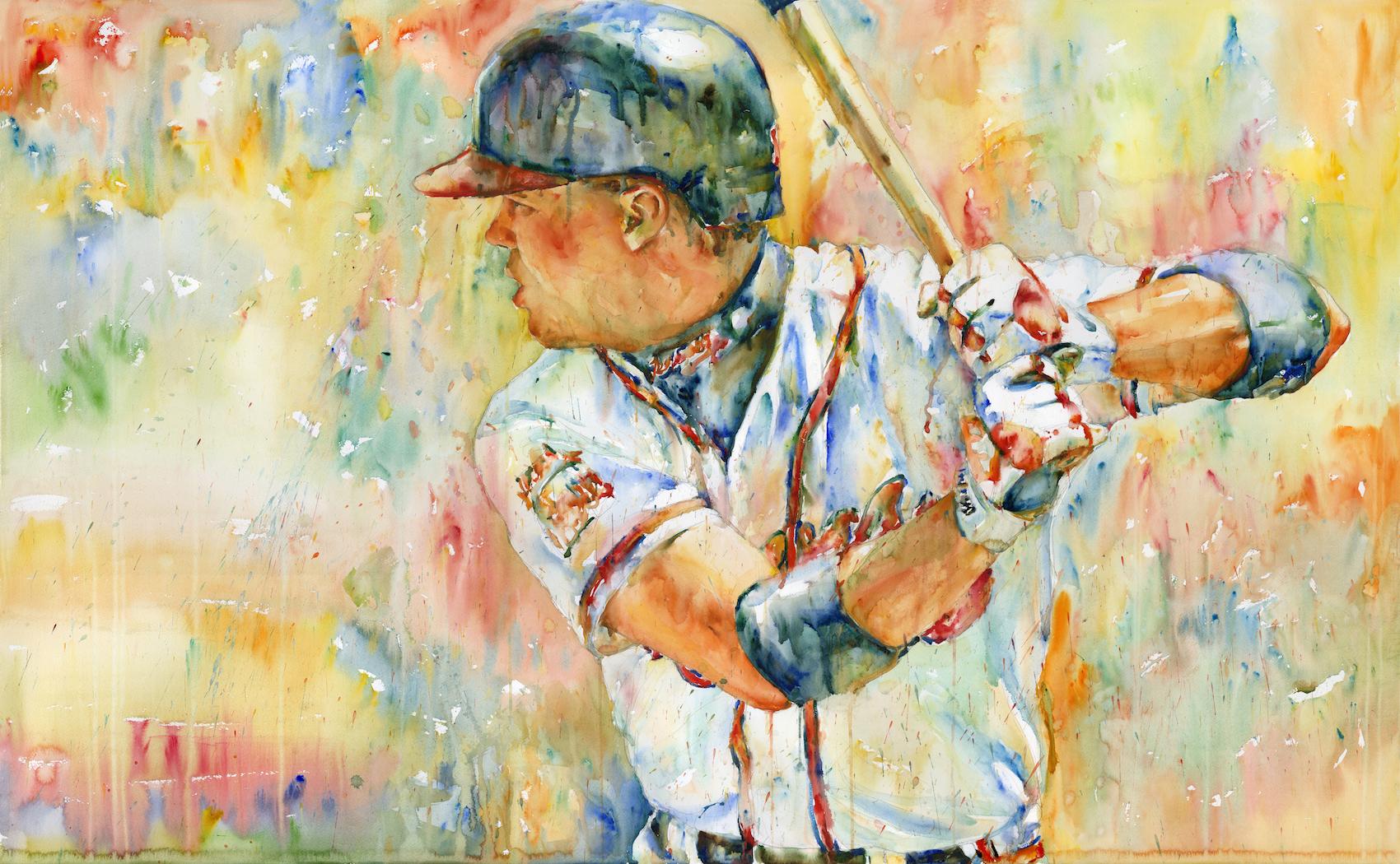 """""""Chipper Jones"""", 2018, Watercolor on paper, 36"""" x 55"""""""