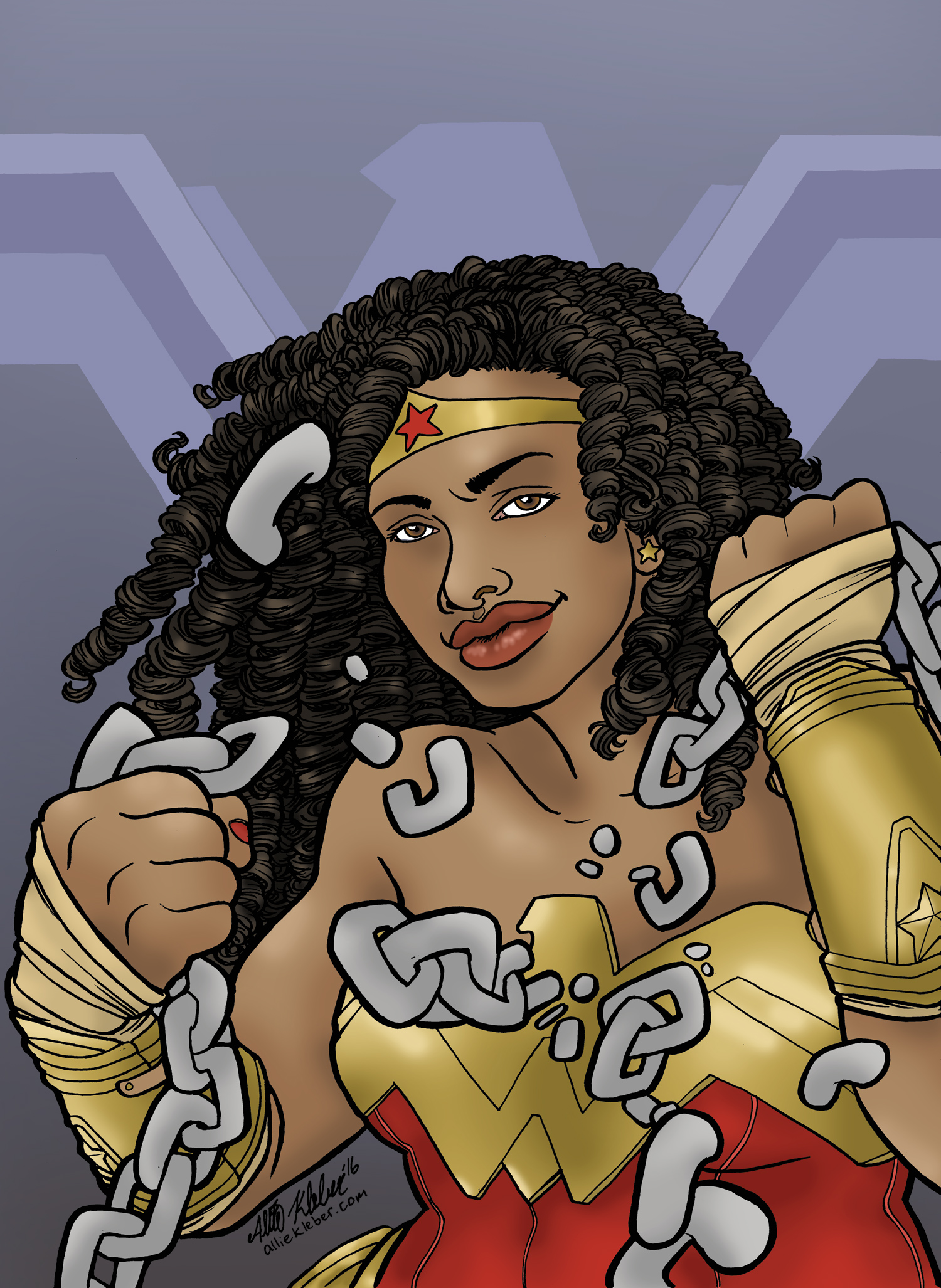 Wonder Woman as played by Gina Torres, in some better universe. Drawn for a themed art show at  Hub Comics .