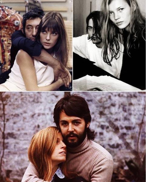 Seleção da  Collector 55  de casais famosos //Serge Gainsbourg + Jane Birkin, Johnny Depp + Kate Moss e Linda + Paul Mccartney.