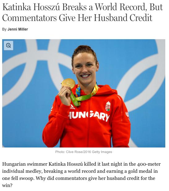 A mana bate recorde, ganha medalha e o marido que é o responsável, de acordo com o comentarista da NBC. Repito: oi?