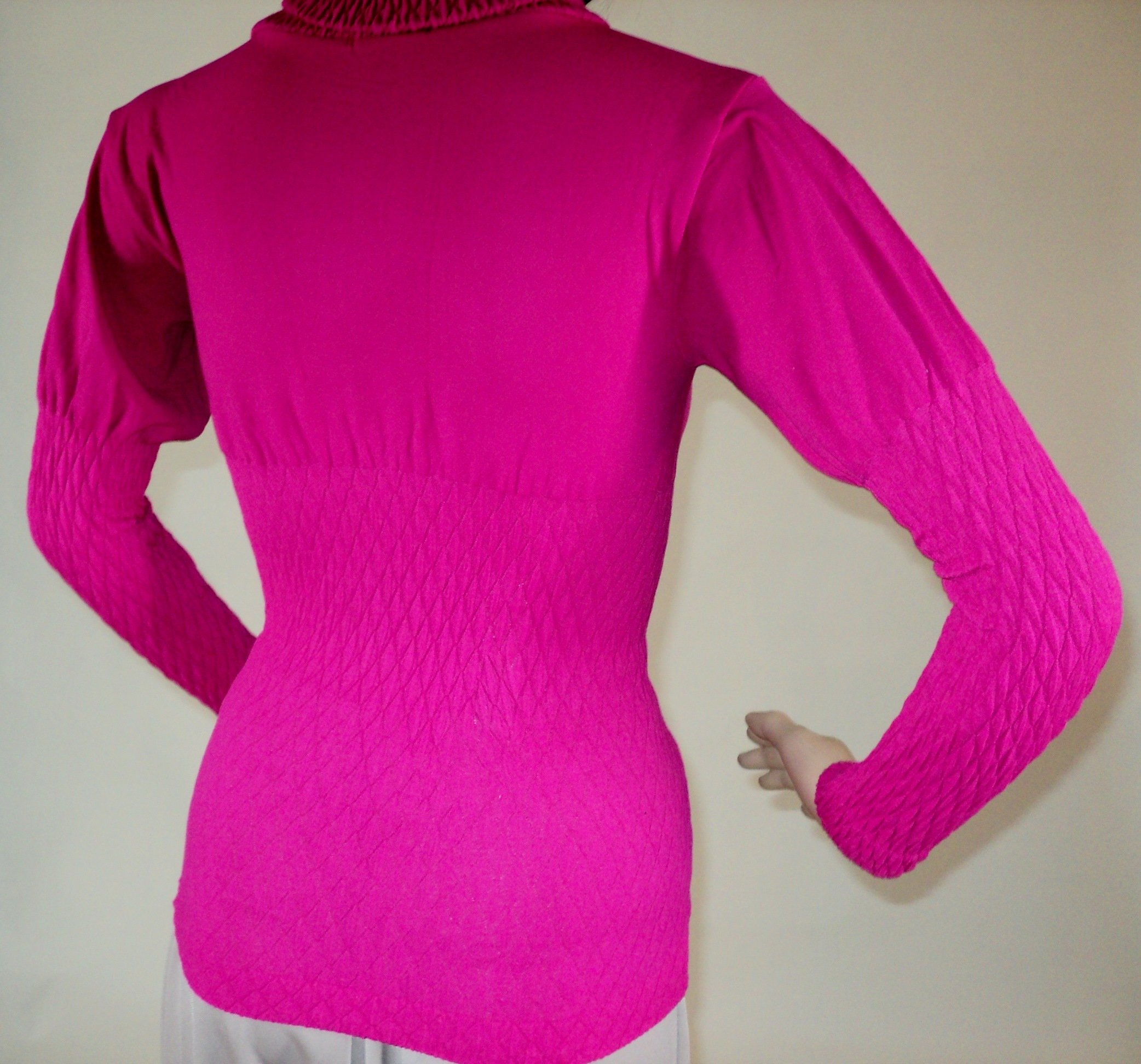 Fushia Pink Turtle Neck Blouse_Back2.jpg