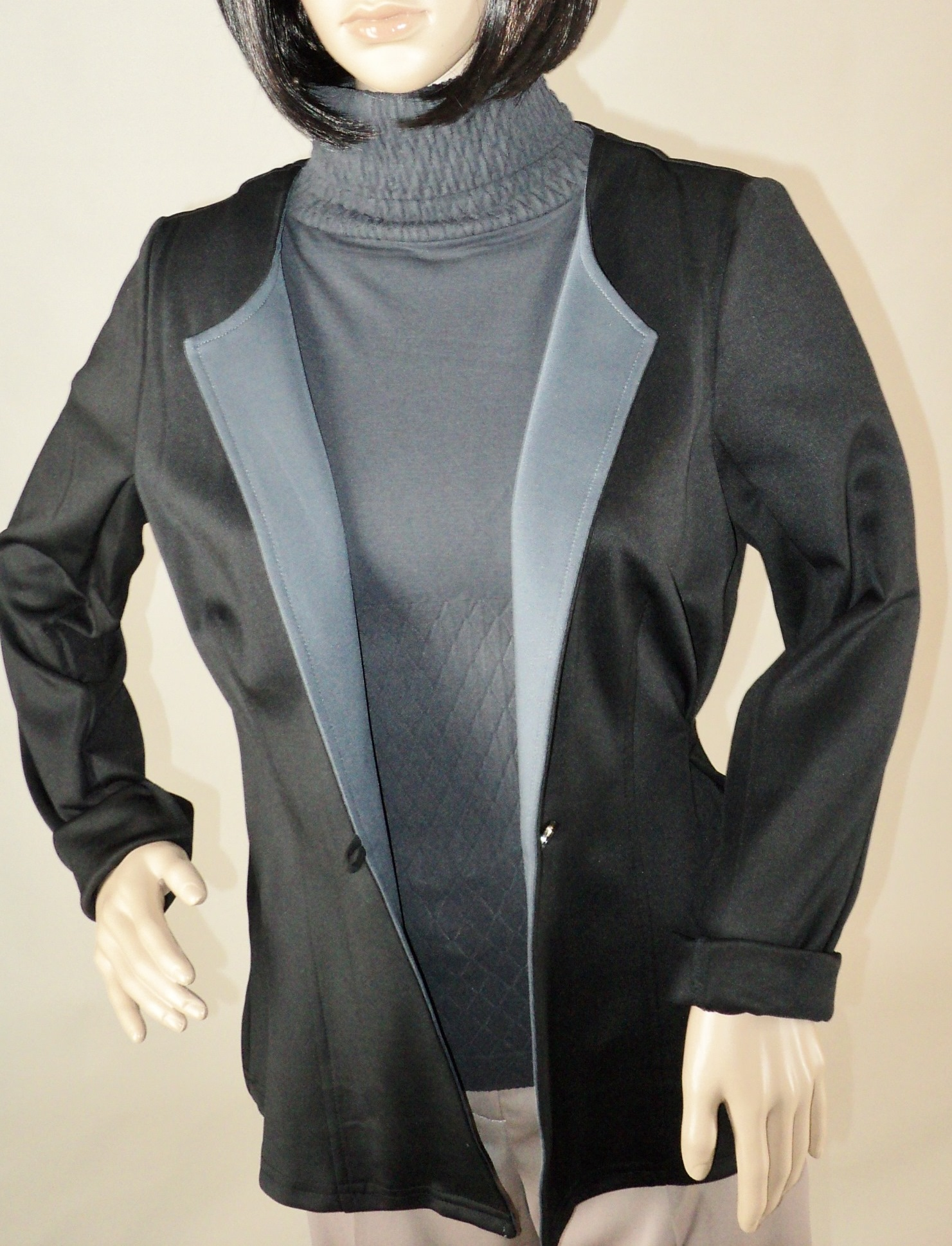 Black and Gray One Button Blazer_Front.jpg