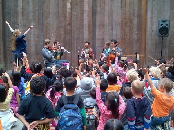 Young conductors practice on the Magik Mini Orchestra