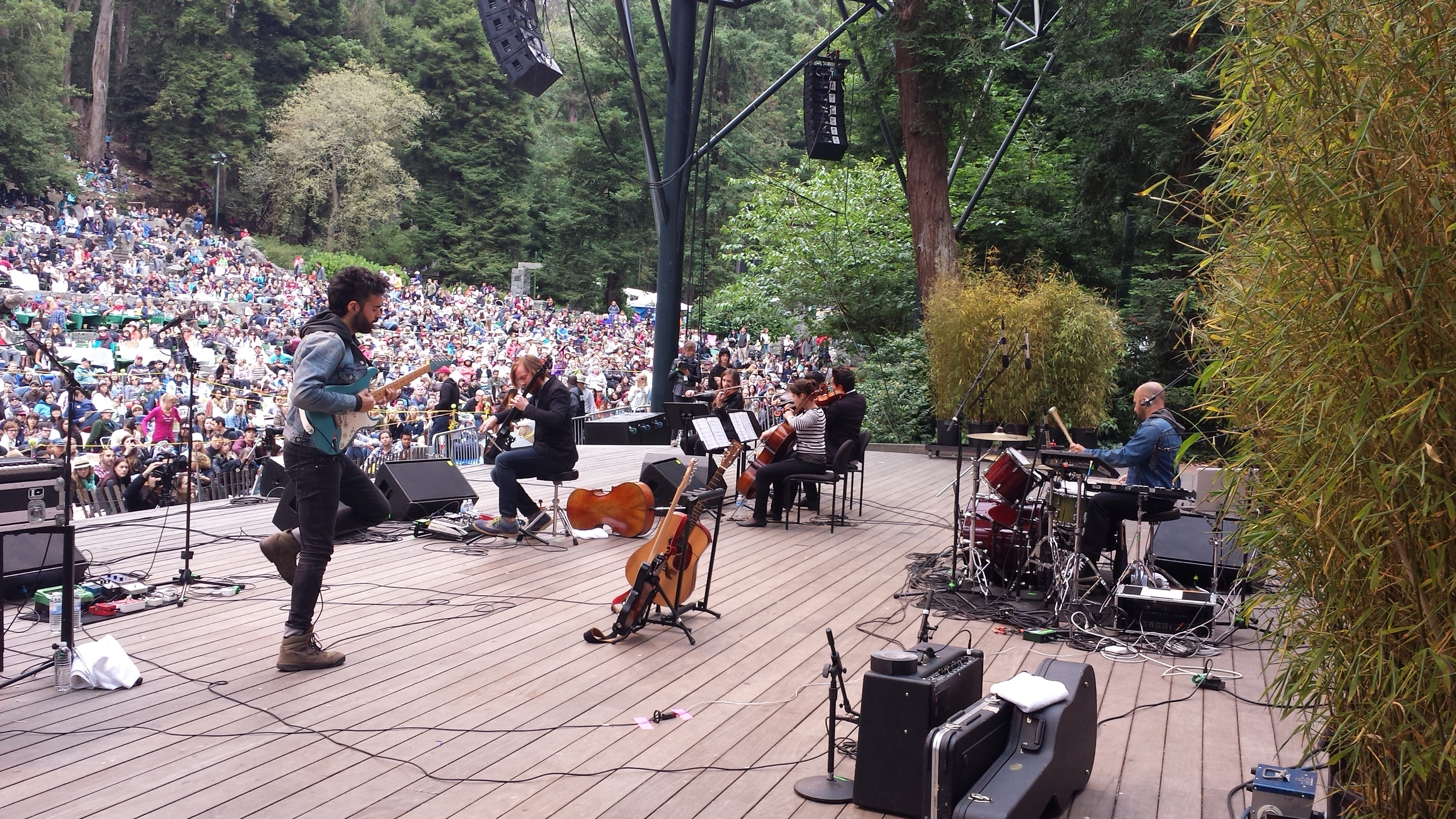 In July 2013, Magik*Magik backs up  GEOGRAPHER  at the Stern Grove Festival, opening for the  KRONOS QUARTET.