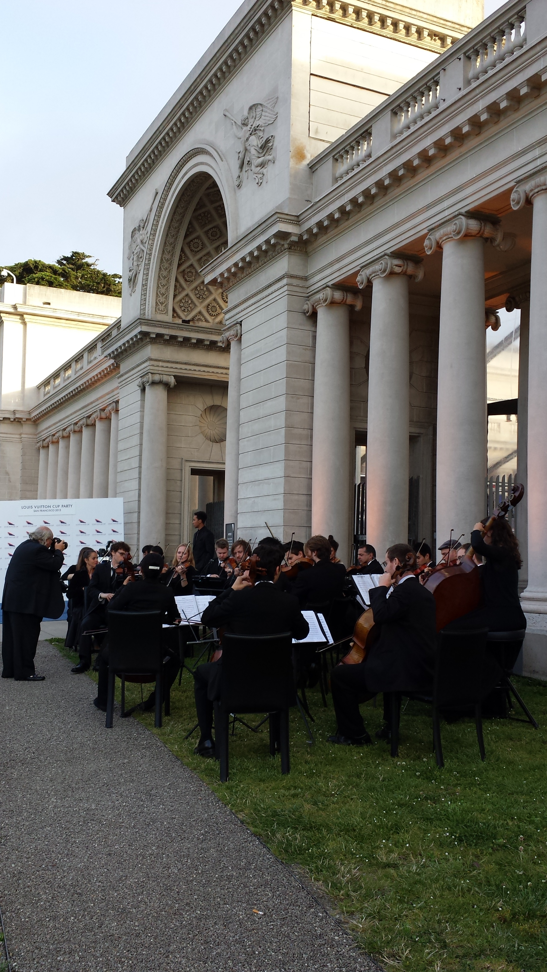 In July 2013, a 25-person Magik string orchestra serenades guests assembling at the opening of the  LOUIS VUITTON CUP  at the Legion of Honor.