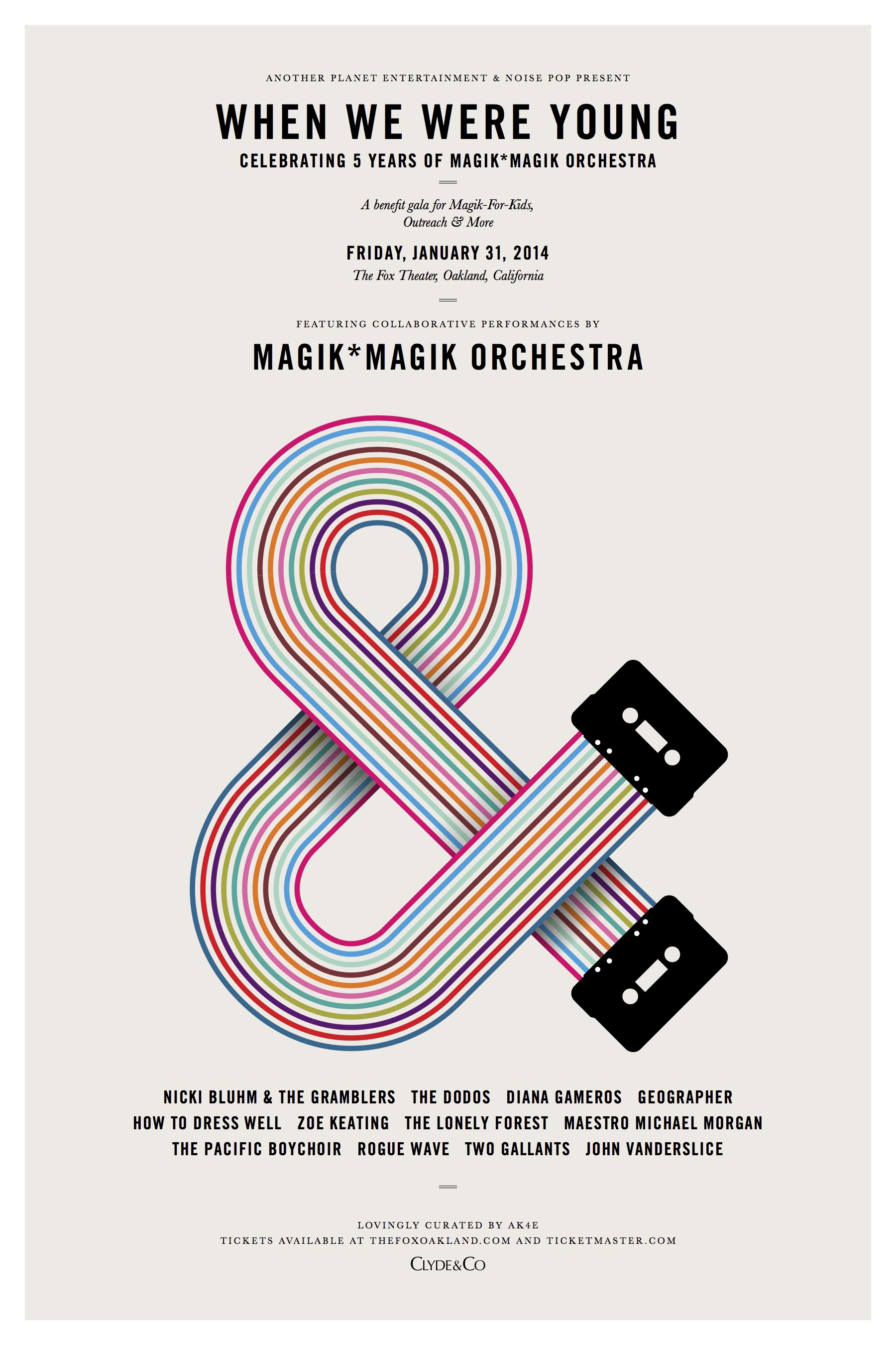 Magik*Magik Celebrates our 5th Birthday with a Gala Concert featuring The Dodos, John Vanderslice, Nicki Bluhm & the Gramblers, How to Dress Well, Geographer, Rogue Wave, Two Gallants, The Lonely Forest, Diana Gameros and Zoe Keating.