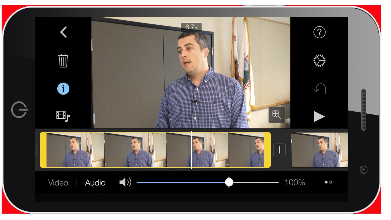 iMovie editing interface on iPhone
