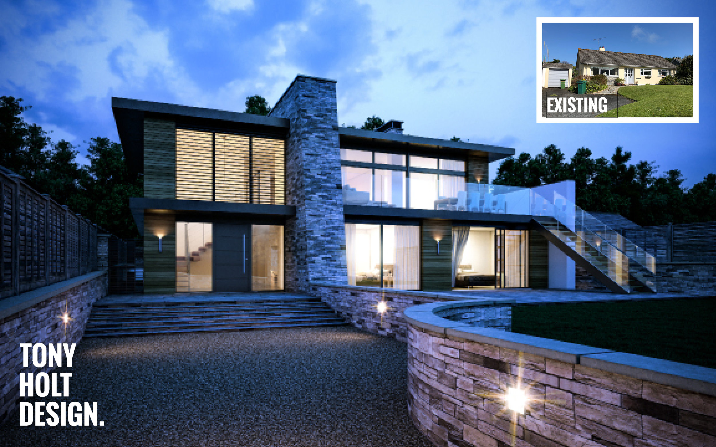 Tony Holt Design_Self Build_New Build_Little Sands 01_CGI with Existing.jpg
