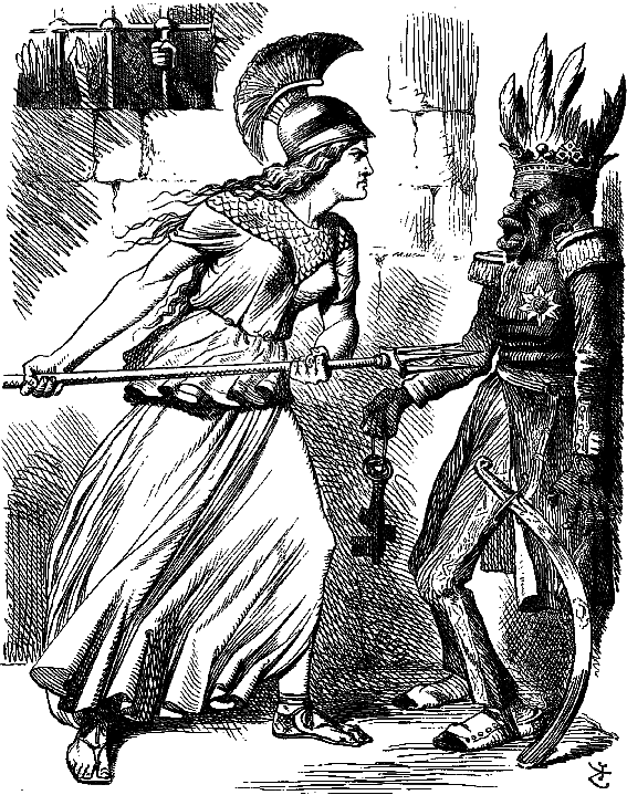 A cartoon depicting the British threatening Emperor Tewodros II