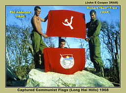 Captured Communist flags during the Vietnam War, 1968