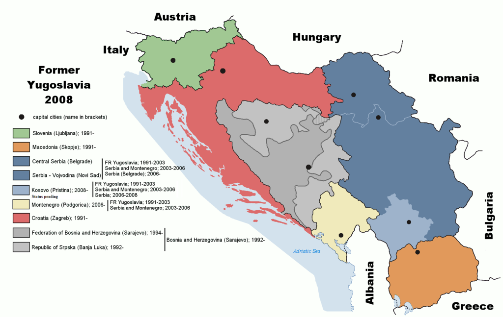 A map of the states of the former Yugoslavia in 2008.