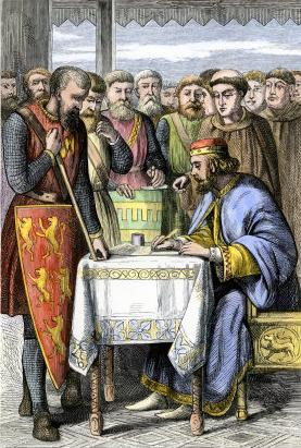King John of England signing the Magna Carta in 1215.