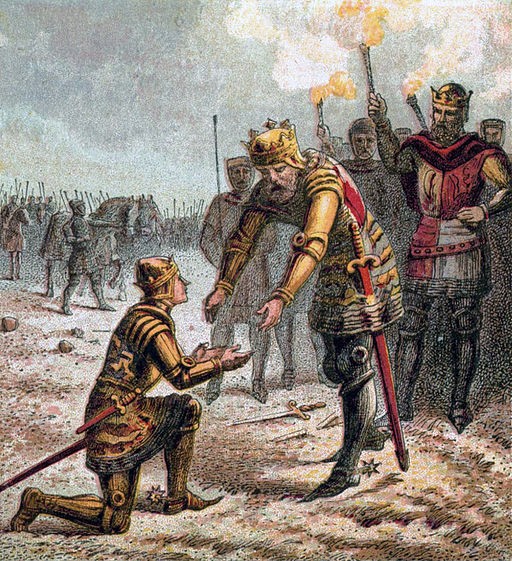 Edward III proudly receives his son, Edward the Black Prince, after success in the 1346 battle of Crécy. Edward the Black Prince did not survive his father though. Source: public domain image.