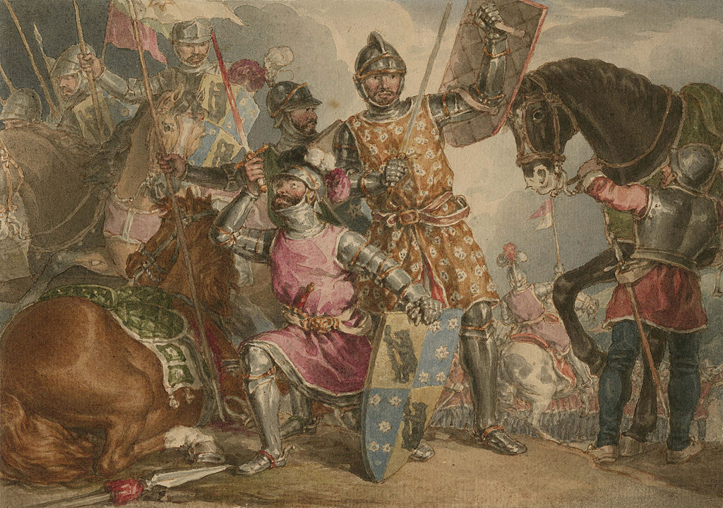 Shakespeare's King Henry VI, part III, act II. Warwick, Edward and Richard at the Battle of Towton